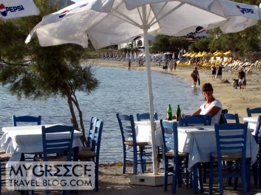 Beachside tables at Agia Anna on Naxos
