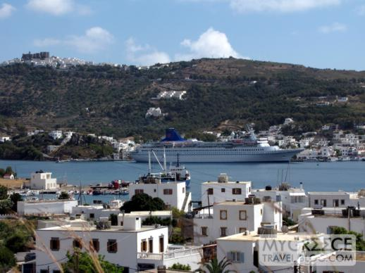 a cruise ship in Skala port on Patmos