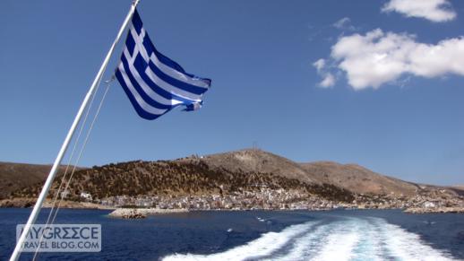 Kalymnos island viewed from a Greek ferry