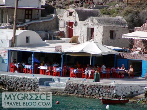 Katina's fish taverna at Amoudi Bay
