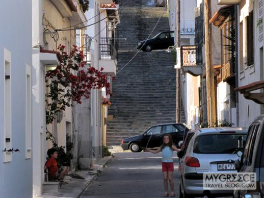 Kids playing on a street in Vathi