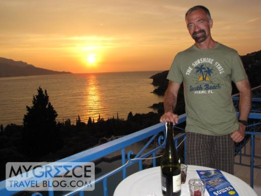 Andromeda Hotel balcony at sunset