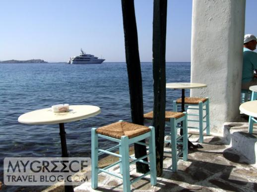 A seaside bar at Little Venice in Mykonos