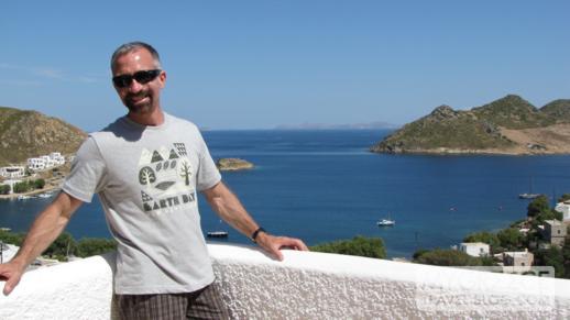Hotel Golden Sun balcony view of Grikos Bay on Patmos
