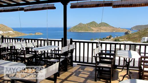 Breakfast terrace at the Hotel Golden Sun at Grikos Bay