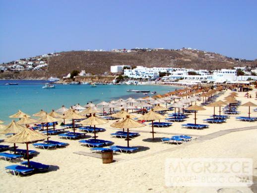 Platis Gialos beach on Mykonos