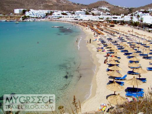 Platis Gialos beach on Mykonos