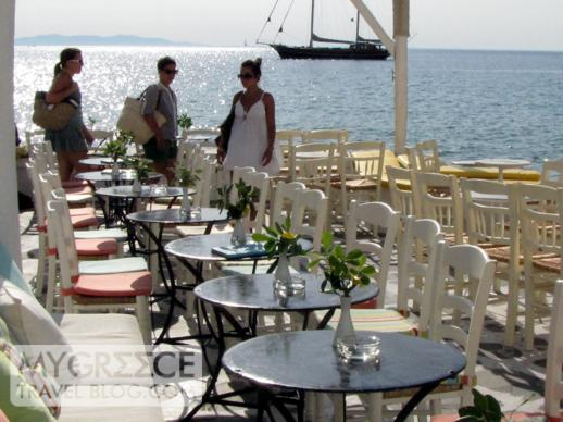 Semeli cocktail bar at Little Venice in Mykonos Town
