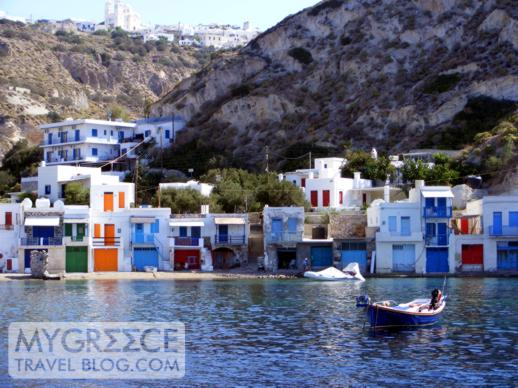 Seaside fishermen`s houses in Klima Milos