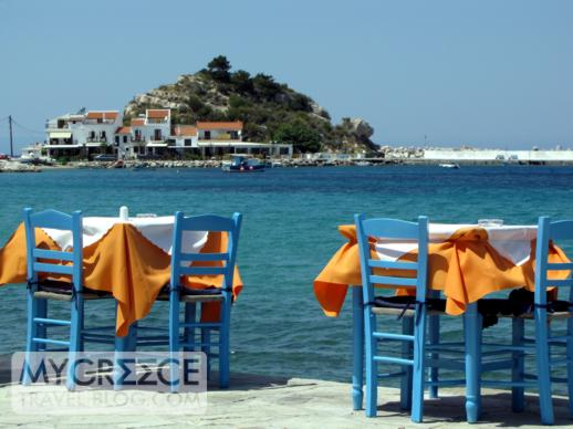 Harbourside taverna tables in Kokkari on Samos