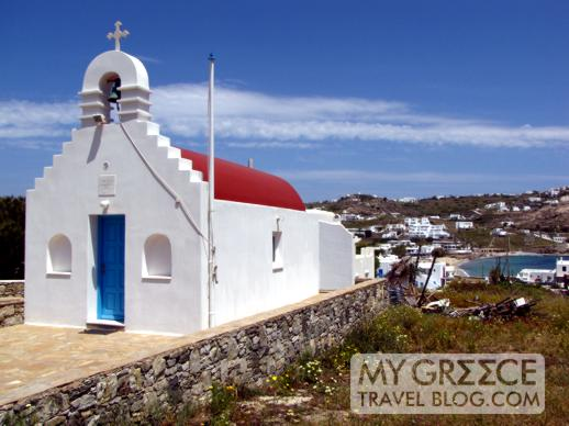 a church at Ornos beach