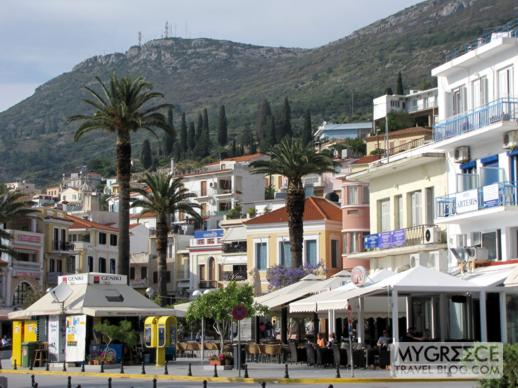 the waterfront business street in Vathi