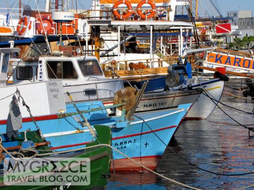 fishing boats and tour boats in Kos Town harbour