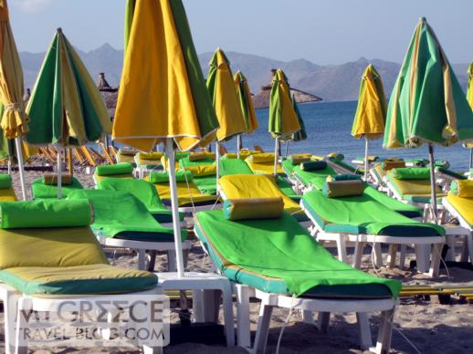 lounge chairs on one of the Kos Town beaches