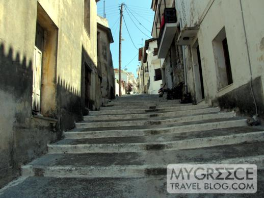 Steps on a hillside street in Vathi