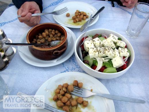 roasted chickpeas at Flisvos Taverna