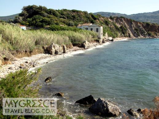 the coastline below the Andromeda Hotel