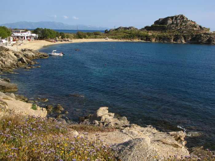 View toward Agia Anna Paraga beach on Mykonos
