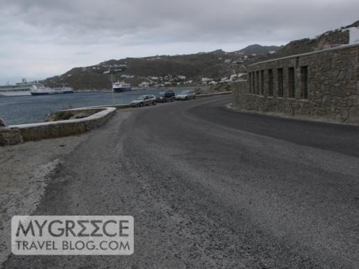 Mykonos coastal road below the Cavo Tagoo luxury hotel