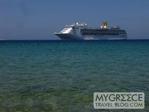 cruise ship anchored near Little Venice at Mykonos