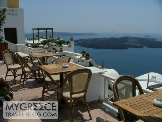 Grotto Villas poolside breakfast tables