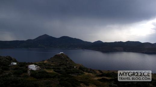 stormclouds passing over western Milos