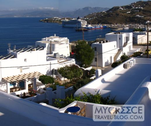 Hotel Tagoo view of Tourlos port on Mykonos