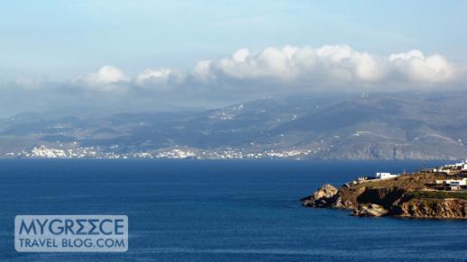 Tinos island viewed from Hotel Tagoo Mykonos