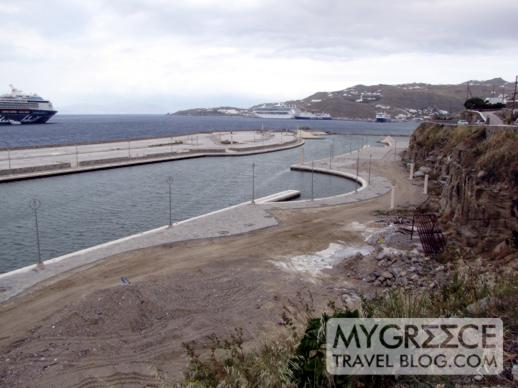 Mykonos Town waterfront marina construction