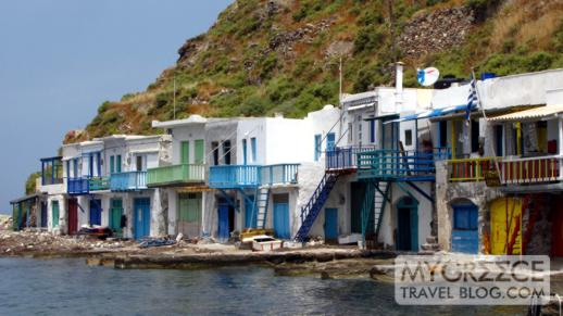 Boathouses at Klima village on Milos