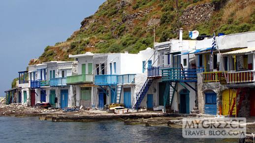 Fishermens boathouses at Klima village on Milos