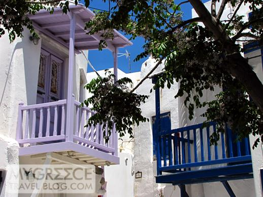 balconies in Mykonos Town