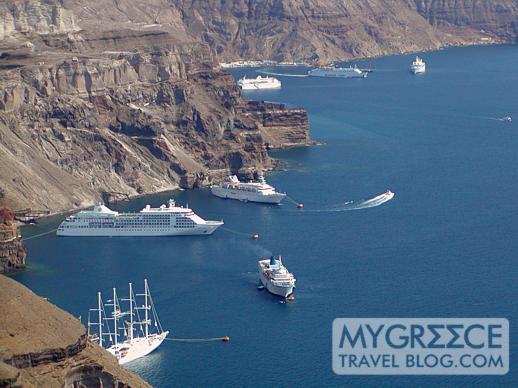 cruise ships at Santorini