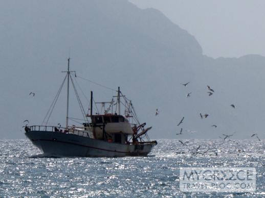 fishing boat at Egali bay at Amorgos Greece