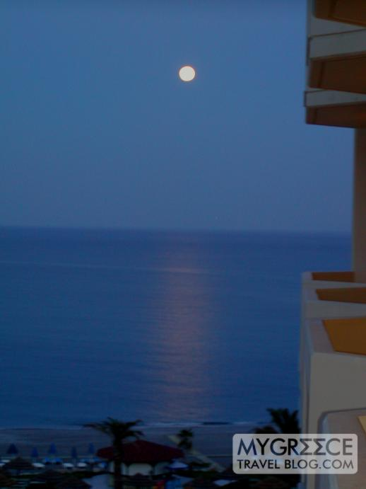 full moon above Kallithea beach Rhodes in 2004