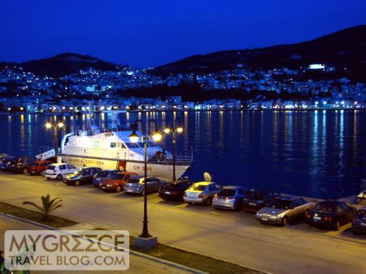 Samos Hotel balcony night view