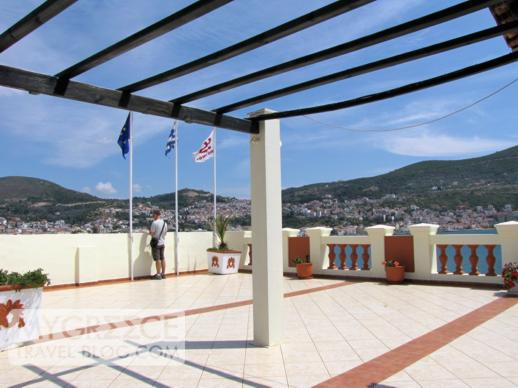 rooftop terrace at the Samos Hotel in Vathi