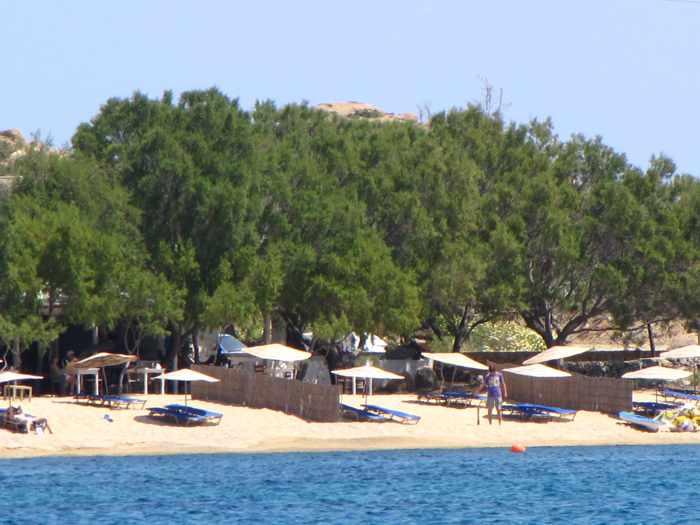 sunbeds on Agia Anna beach on Mykonos
