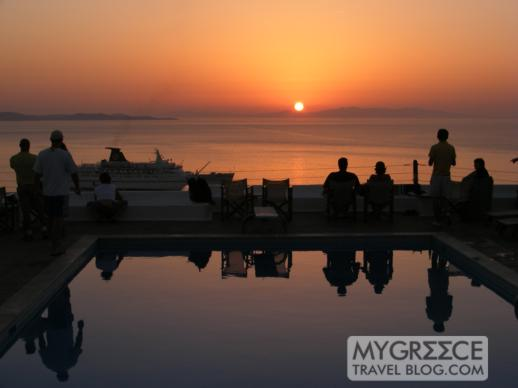 Hotel Tagoo swimming pool terrace at sunset