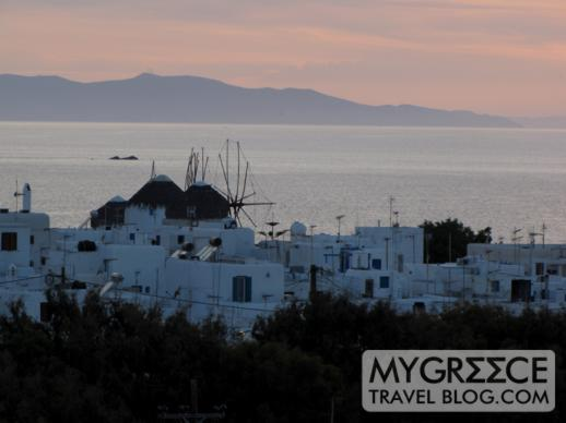 Rochari Hotel view of the Mykonos windmills