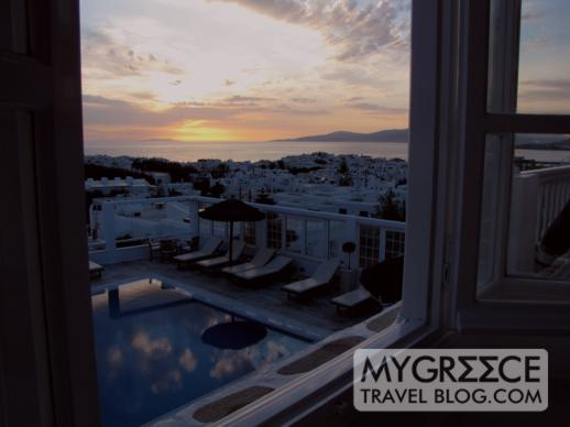 sunset view from the Rochari Hotel Mykonos