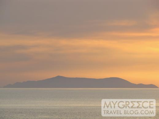 sunset view of Gialos island from Rochari Hotel