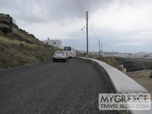the coastal road above the Mykonos marina