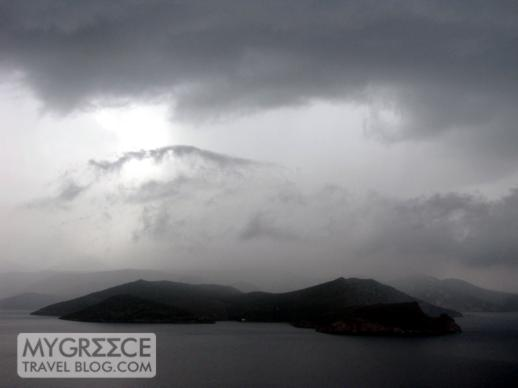 a thunderstorm over western Milos