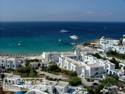 Platis Gialos bay beach and resort area on Mykonos