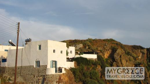 house on the hillside in Plaka Milos