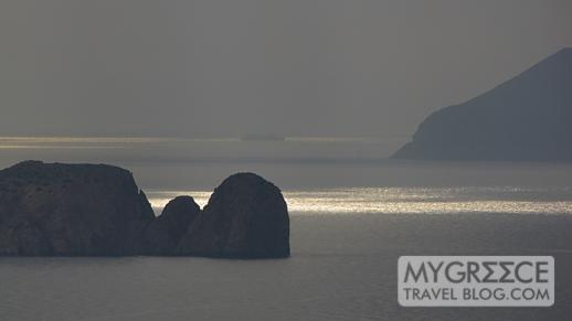 Cape Vani on Milos at sunset