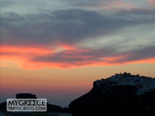 Imerovigli village on Santorini at sunset