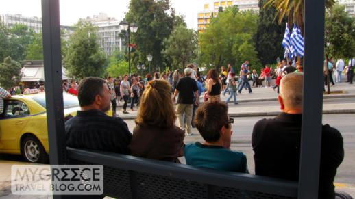 people watching at Syntagma Square in Athens