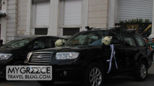 wedding car at Hotel Grande Bretagne in Athens